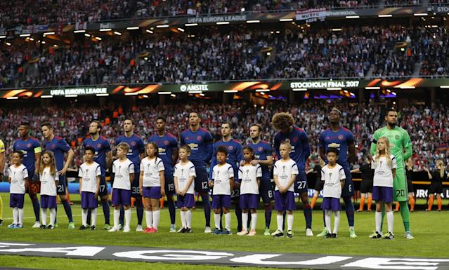 <p>The Manchester United team take part in a minutes silence in memory of the victims of the Manchester Concert attack prior to the UEFA Europa League Final between Ajax and Manchester United at Friends Arena on May 24, 2017 in Stockholm, Sweden. </p>