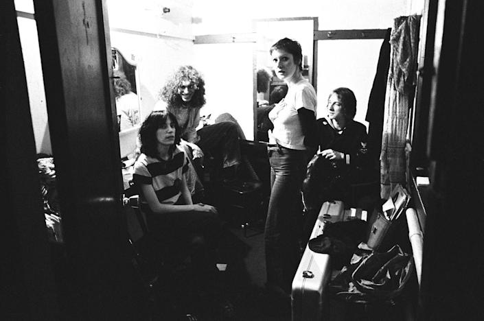 <p>Patti Smith backstage with friends at The Boarding House Nightclub in 1975 in San Francisco, California.</p>