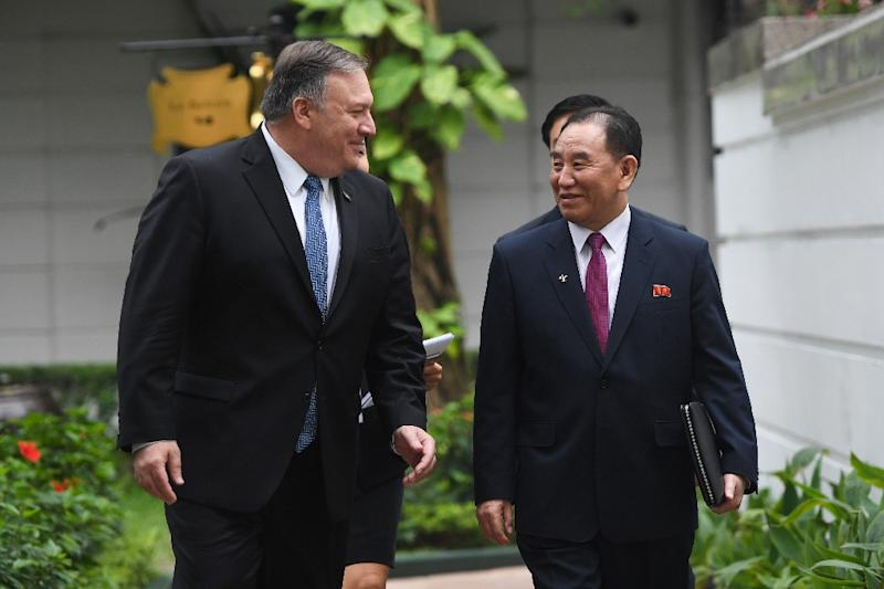US Secretary of State Mike Pompeo (L) speaks with North Korean senior ruling party official Kim Yong Chol during the second US-North Korea summit at the Sofitel Legend Metropole hotel in Hanoi on February 28, 2019 (AFP Photo/Saul LOEB)