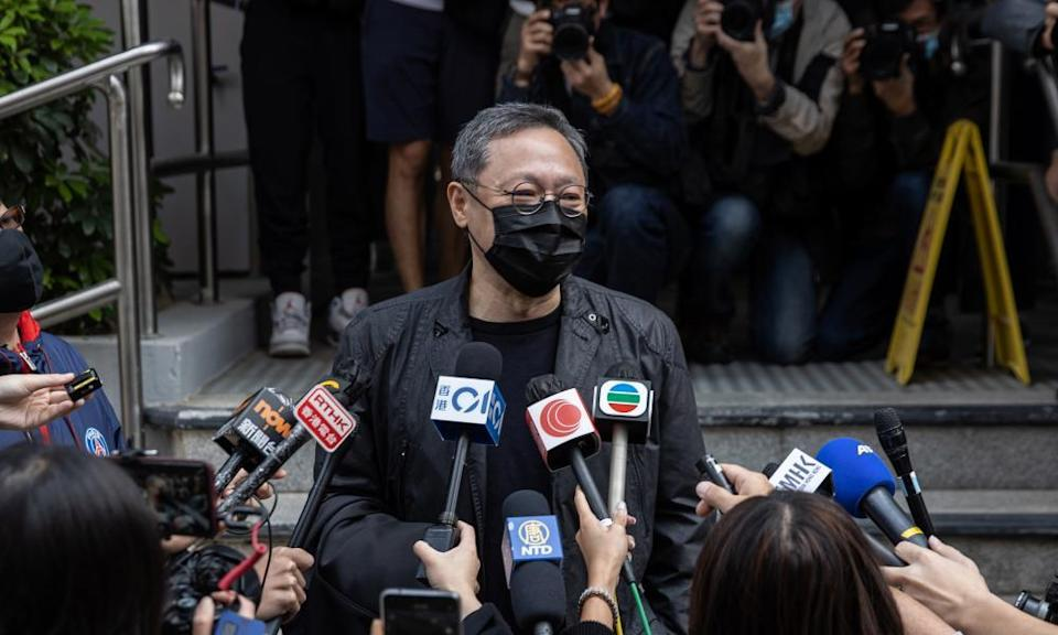 Benny Tai, a Hong Kong legal scholar, speaks to the press before being charged with subversion.