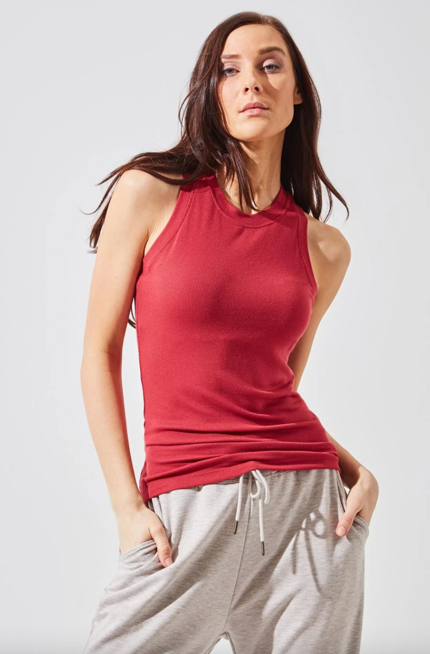 Elevate Natural Modal Micro Ribbed Tank in Soft Bordeaux (Photo via MPG Sport)
