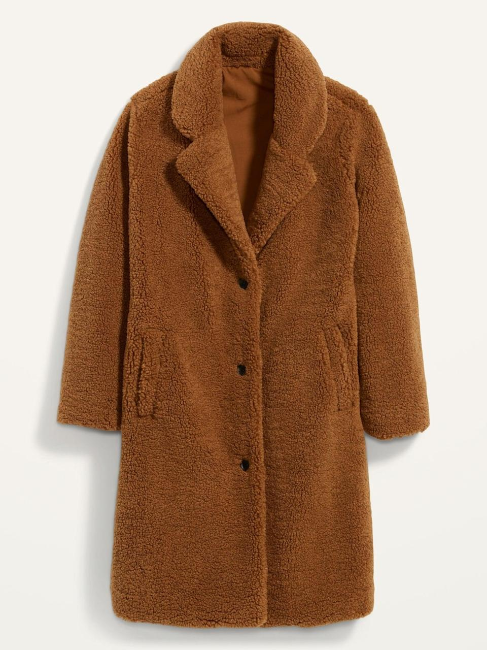 <p>This <span>Oversized Cozy Sherpa Overcoat</span> ($84, originally $100) is the type of coat you can wear over joggers, jeans, and anything else. It goes with everything.</p>