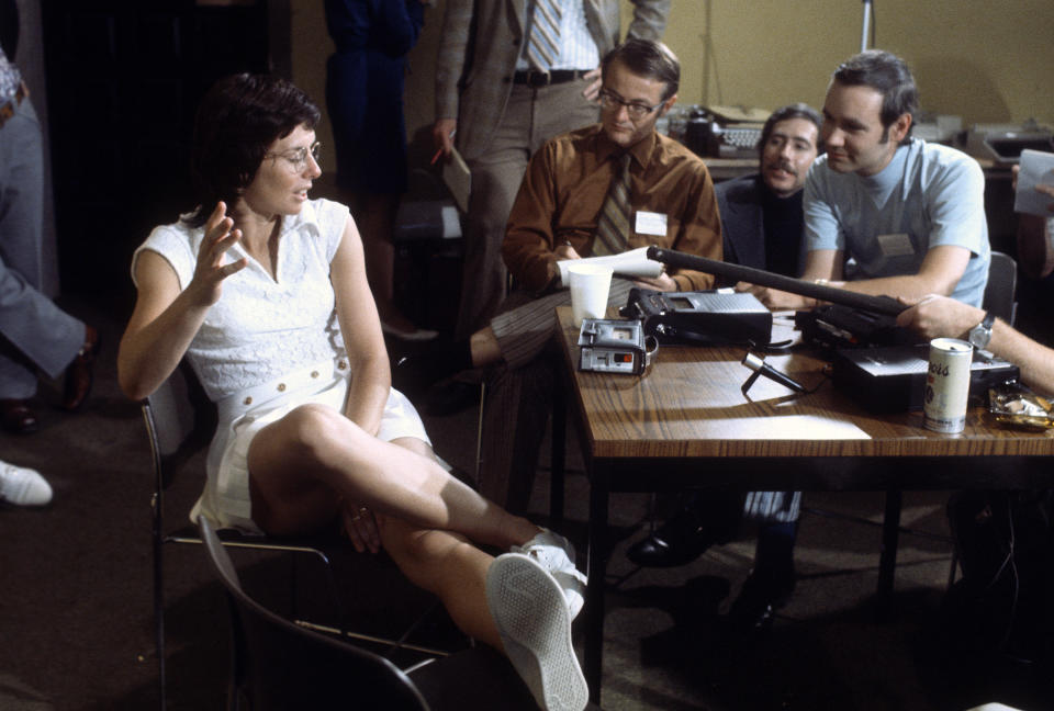 Billie Jean King talks with the media prior to playing a tennis match. Source: Getty Images