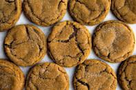 "<p>New Englanders are mighty fond of one old-school ingredient: molasses. The sticky syrup, when paired with warm spices, form a chewy, not-too-sugary cookie that stands the test of time.</p><p>Get the recipe from <a href=""https://sallysbakingaddiction.com/2017/12/06/soft-molasses-cookies/"" rel=""nofollow noopener"" target=""_blank"" data-ylk=""slk:Sally's Baking Addiction"" class=""link rapid-noclick-resp"">Sally's Baking Addiction</a>.</p>"