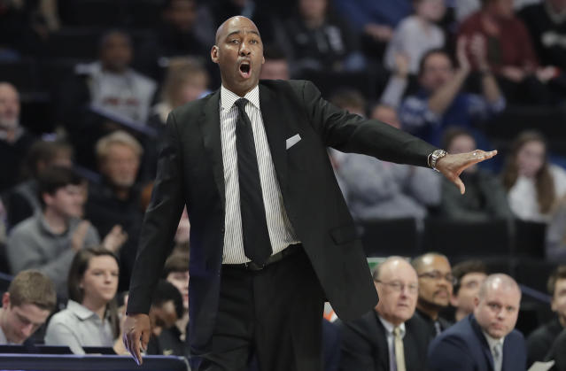 Wake Forest head coach Danny Manning directs his team against Charlotte in the first half of an NCAA college basketball game in Winston-Salem, N.C., Thursday, Dec. 6, 2018. (AP Photo/Chuck Burton)