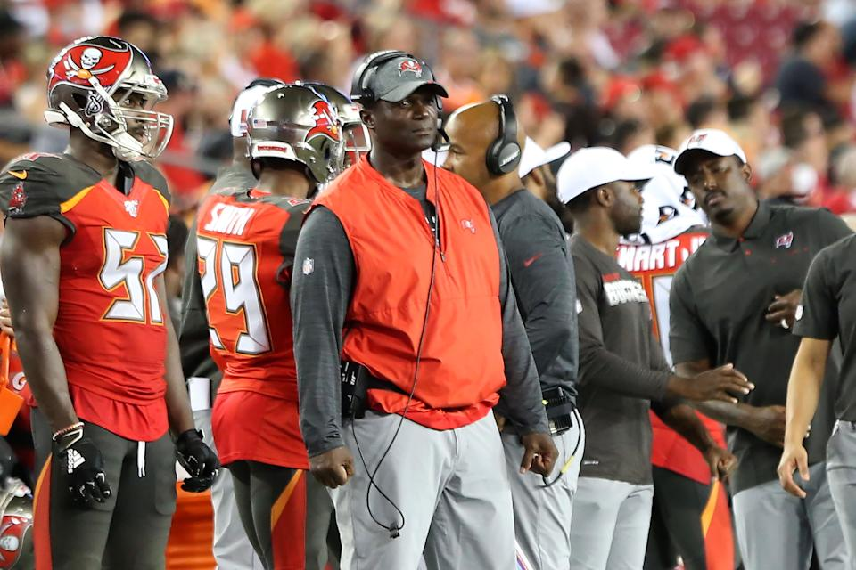 TAMPA, FL - AUG 23: Defensive Coordinator Todd Bowles of the Bucs watches his defense during the preseason game between the Cleveland Browns and the Tampa Bay Buccaneers on August 23, 2019 at Raymond James Stadium in Tampa, Florida. (Photo by Cliff Welch/Icon Sportswire via Getty Images)