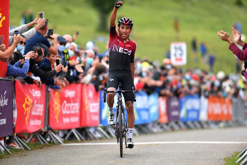 SARRANCOLIN FRANCE AUGUST 03 Arrival Egan Bernal of Colombia and Team Ineos Celebration during the 44th La Route dOccitanie La Depeche du Midi 2020 Stage 3 a 1635km stage from Saint Gaudens to Col de Beyrde 1417m RouteOccitanie RDO2020 on August 03 2020 in Sarrancolin France Photo by Justin SetterfieldGetty Images