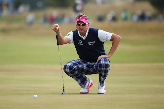 GULLANE, SCOTLAND - JULY 21: Ian Poulter of England lines up a putt on the 1st green during the final round of the 142nd Open Championship at Muirfield on July 21, 2013 in Gullane, Scotland. (Photo by Andy Lyons/Getty Images)