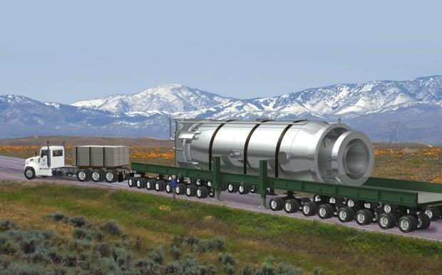 An illustration shows a NuScale Power Module on a truck. NuScale is a small modular reactor company. Alberta joined Saskatchewan, Ontario and New Brunswick in signing amemorandum of understanding Wednesday related to exploring the feasibility of small-scale nuclear technology. (NuScale Power - image credit)