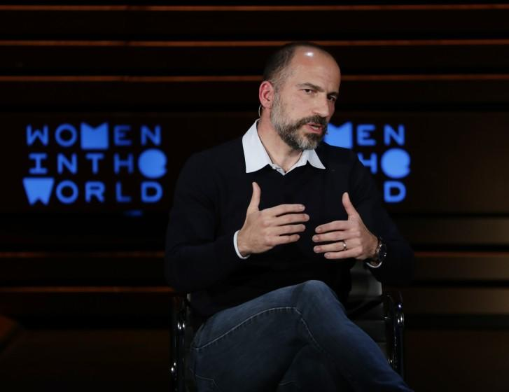 """CEO Dara Khosrowshahi might shut down Uber operations in California in a bid to rally consumers and drivers to the company's side in the Proposition 22 campaign. <span class=""""copyright"""">(Frank Franklin II / Associated Press)</span>"""