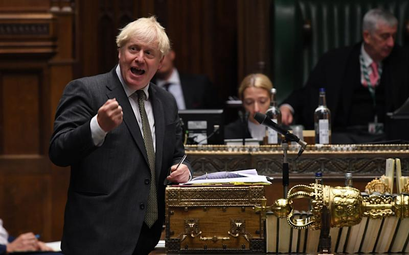 A handout picture made available by the UK Parliament shows Britain's Prime Minister Boris Johnson speaking during Prime Minister's questions in the House of Commons in London - Jessica Taylor/UK Parliament handout/EPA-EFE/Shutterstock