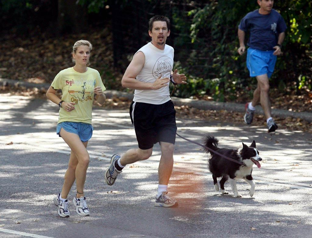 """Blinded by the white! Maybe Ethan Hawke should grab a quick spray-on tan after his gallop through Central Park? <a href=""""http://www.infdaily.com"""" target=""""new"""">INFDaily.com</a> - September 29, 2007"""