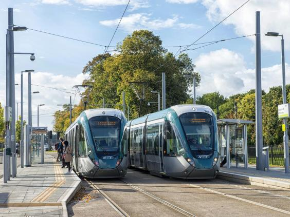 The city's bus and tram system is so effective that 40 per cent of all journeys are now made on public transport (Nottingham City Council)