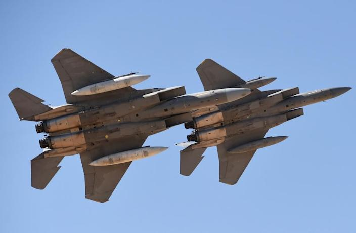 Saudi Arabia is a major client for western arms manufacturers such as McDonnell Douglas, which makes the F-15 fighter jet (AFP Photo/FAYEZ NURELDINE)