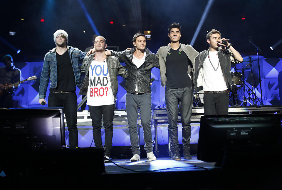 Members of The Wanted perform during 2012's Jingle Ball in New York. Seen are (L-R) Jay McGuiness, Max George, Tom Parker, Siva Kaneswaran and Nathan Sykes.