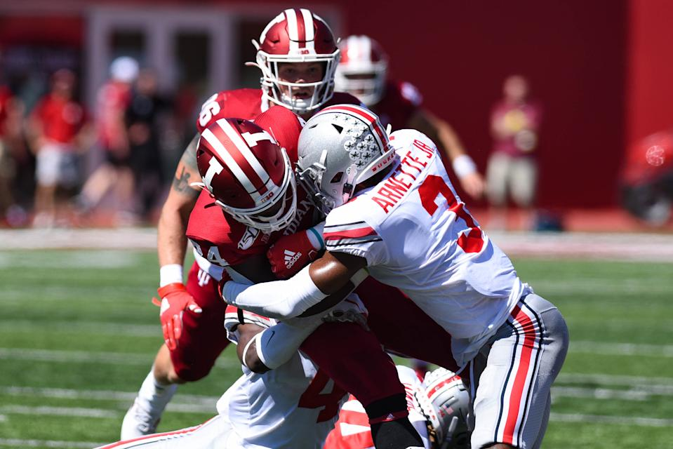 Ohio State CB Damon Arnette Jr. (3) tackling Indiana (RB) Ronnie Walker Jr. (24) during a college football game between the Buckeyes and Hoosiers. (Photo by James Black/Icon Sportswire via Getty Images)