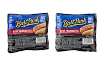 """<p>Calories: 180<br>Fat: 15 grams<br>Sodium: 510 milligrams<br>Cholesterol: 30 milligrams</p> <p>Ball Park Beef Franks are made of much more than <a href=""""https://www.thedailymeal.com/best-recipes/10-creative-beef-recipes-gallery?referrer=yahoo&category=beauty_food&include_utm=1&utm_medium=referral&utm_source=yahoo&utm_campaign=feed"""" rel=""""nofollow noopener"""" target=""""_blank"""" data-ylk=""""slk:beef"""" class=""""link rapid-noclick-resp"""">beef</a>. In fact, corn syrup is listed as the third ingredient. There are also scary-sounding ingredients like potassium lactate, sodium phosphate and sodium diacetate — but don't worry, they're just flavor enhancers and preservatives and safe to eat. One thing to be aware of, however, is the sodium content of this hot dog — 510 milligrams. Processed foods with lots of salt are one of the <a href=""""https://www.thedailymeal.com/healthy-eating/19-foods-and-drinks-are-putting-your-blood-pressure-through-roof-slideshow?referrer=yahoo&category=beauty_food&include_utm=1&utm_medium=referral&utm_source=yahoo&utm_campaign=feed"""" rel=""""nofollow noopener"""" target=""""_blank"""" data-ylk=""""slk:foods that are putting your blood pressure through the roof"""" class=""""link rapid-noclick-resp"""">foods that are putting your blood pressure through the roof</a>.</p>"""