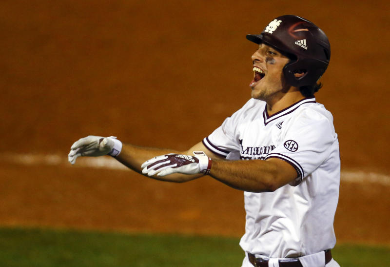 Mississippi State's Marshall Gilbert reacts after a sacrifice bunt to move runners into scoring position during the 10th inning of the Southeastern Conference tournament NCAA college baseball game against LSU, early morning Thursday, May 23, 2019, in Hoover, Ala. (AP Photo/Butch Dill)