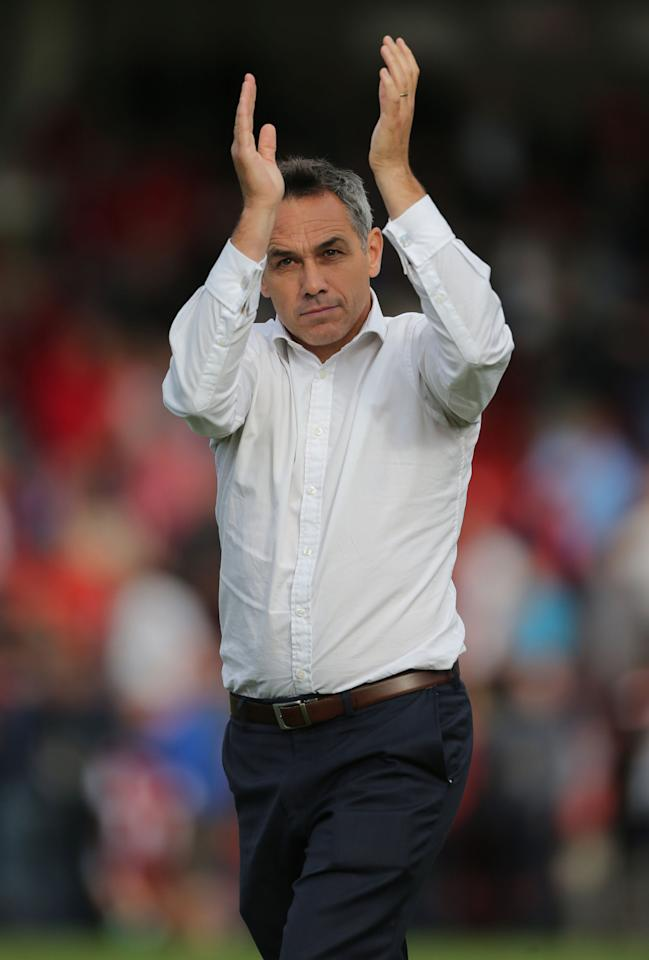 Portsmouth manager Guy Whittingham thanks the fans after the draw against Cheltenham Town during the Sky Bet Football League Two match at the Abbey Business Stadium, Cheltenham.