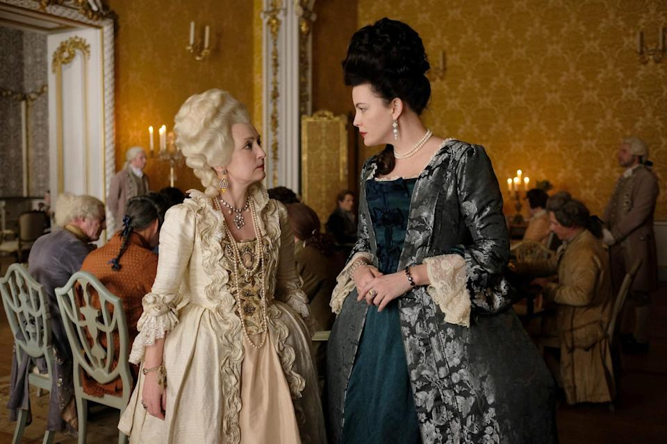 Lesley Manville and Liv Tyler stare at each other (from Season 2, Episode 3)