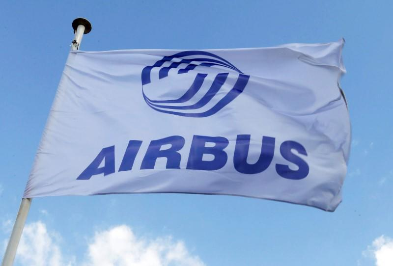 Flag with Airbus logo is pictured at the Airbus A380 final assembly line at Airbus headquarters in Blagnac near Toulouse