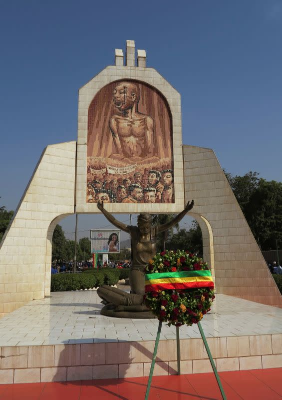 FILE PHOTO: A wreath is laid by a monument on Martyrs' Day in Bamako