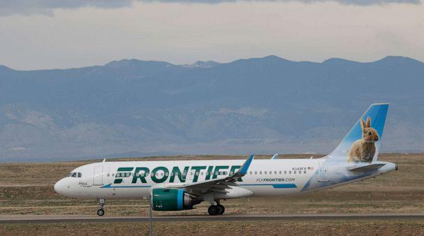 PHOTO: In this April 23, 2020 photo a Frontier Airlines jetliner taxis to a runway for take off from Denver International Airport in Denver. (David Zalubowski/AP, File)