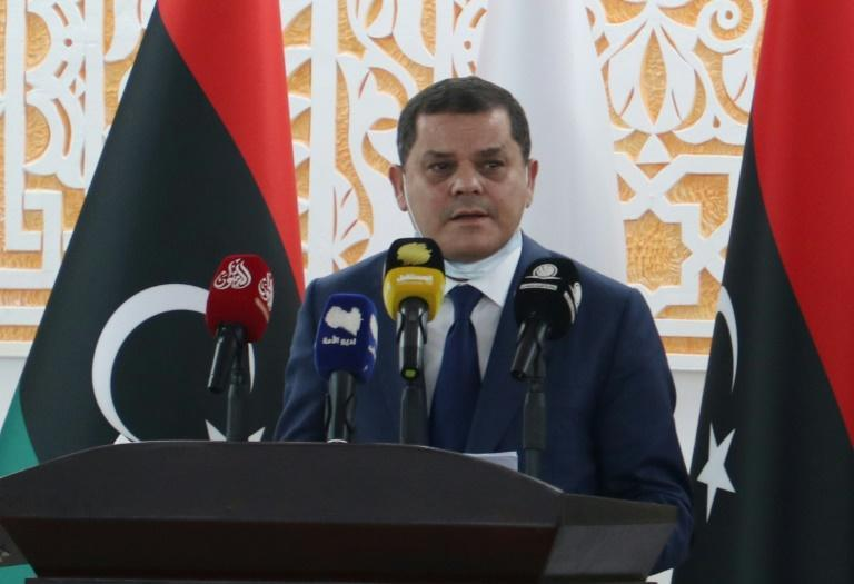 Libya's new interim prime minister Abdul Hamid Dbeibah speaks after being sworn in the eastern Libyan city of Tobruk on March 15, 2021 to lead the war-torn country's transition to elections in December after years of chaos and division