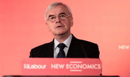 Britain's Shadow Chancellor, John McDonnell, speaks at a conference on alternative models of ownership, in central London