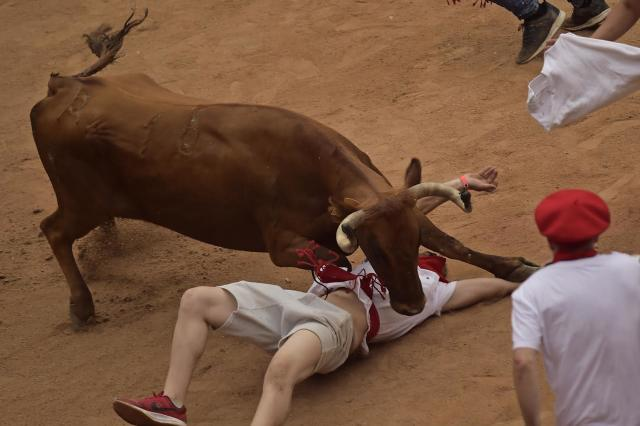 <p>A reveller lies on the ground beneath a calf after the third running of the bulls at the San Fermin Festival, in Pamplona, northern Spain, July 9, 2017. (AP Photo/Alvaro Barrientos) </p>