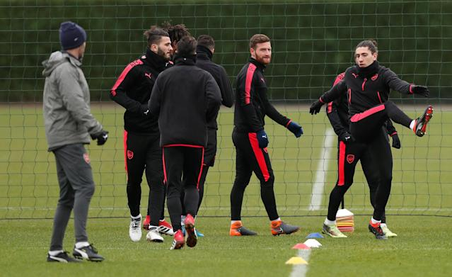 Soccer Football - Europa League - Arsenal Training - Arsenal Training Centre, St Albans, Britain - February 14, 2018 Arsenal's Shkodran Mustafi, Sead Kolasinac and Hector Bellerin with team mates during training Action Images via Reuters/Peter Cziborra