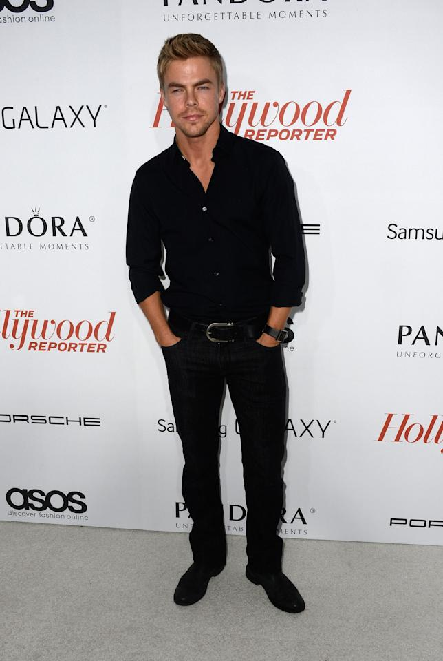 WEST HOLLYWOOD, CA - SEPTEMBER 19: Actor Derek Hough arrives at The Hollywood Reporter's Emmy Party at Soho House on September 19, 2013 in West Hollywood, California. (Photo by Frazer Harrison/Getty Images)