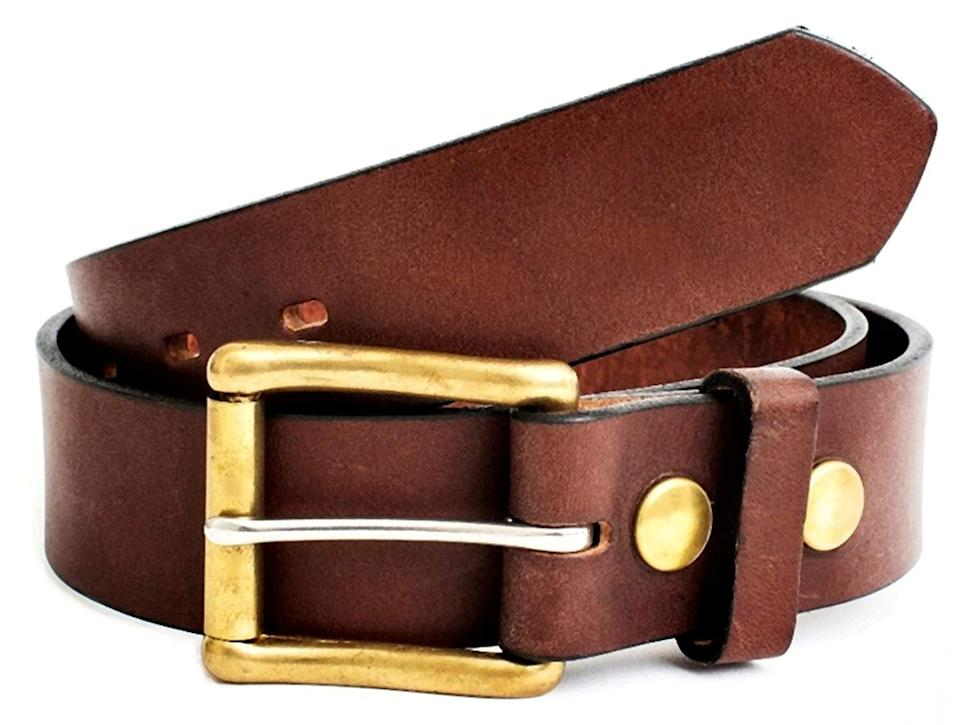 <p>They'll cherish this <span>Working Man's Leather Belt</span> ($80). You can personalize it with their initials.</p>
