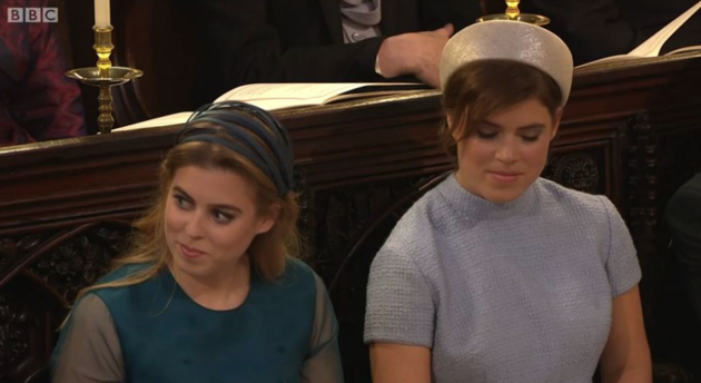 And Princess Beatrice (left) and Princess Eugenie appeared to be greatly enjoying the address.