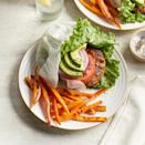 <p>Inspired by an option at the West Coast chain In-N-Out Burger, this turkey burger recipe keeps the carbs in check with a lettuce wrap instead of a bun. The side of sweet potato fries bakes while you prep the burgers, so this entire healthy dinner is ready in under 30 minutes.</p>