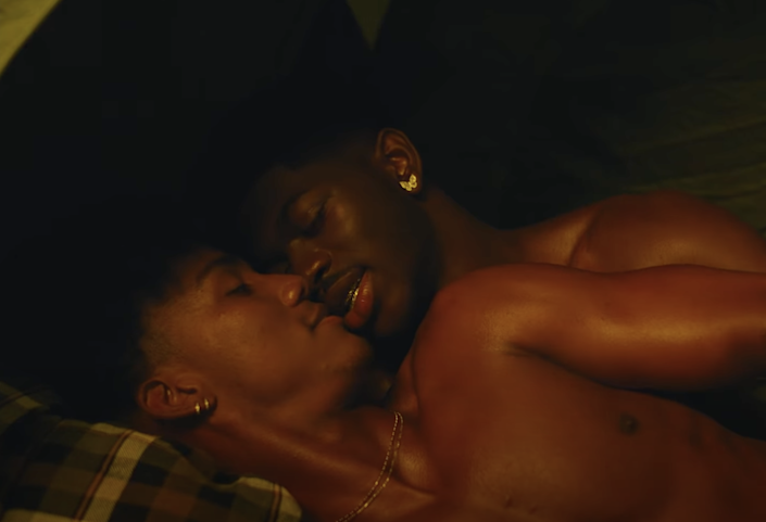 Lil Nas X and his lover spooning in bed