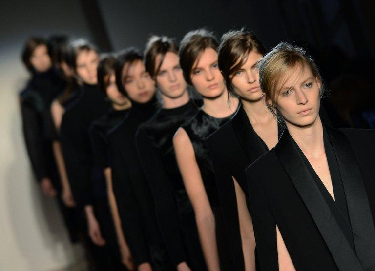 Models wear designs at the Victoria Beckham show on February 10, 2013 in New York
