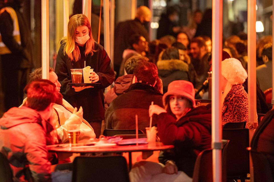 <p>Footfall was strongly up in the West End yesterday on the first day of reopening.</p> (PA)