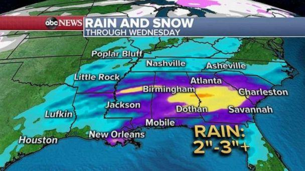 PHOTO: Two to three inches of rain is possible in the Southern U.S., especially in parts of Alabama and Georgia. (ABC News)