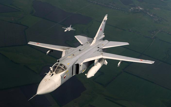 A Sukhoi Su-24M (Nato codename - Fencer) supersonic, all-weather attack aircraft. Su-24 aircraft have been shown to be operating in Libya, allegedly by the Wagner Group. - aviation-images.com/Universal Images Group Editorial