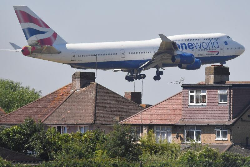 A British Airways Boeing 747 comes in to land at Heathrow aiport in London