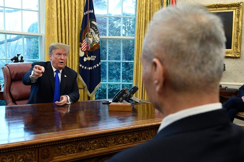 President Donald Trump, left, speaks during his meeting with Chinese Vice Premier Liu He, right, in the Oval Office of the White House in Washington, Friday, Feb. 22, 2019. (AP Photo/Susan Walsh)