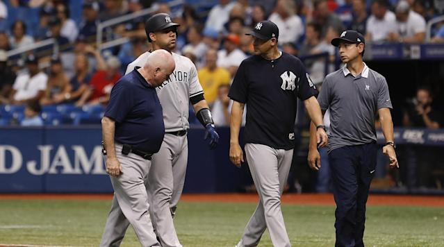 ST. PETERSBURG, Fla. (AP) — New York Yankees catcher Gary Sanchez is likely headed to the disabled list after pulling up while running out a double-play grounder Sunday at Tampa Bay.