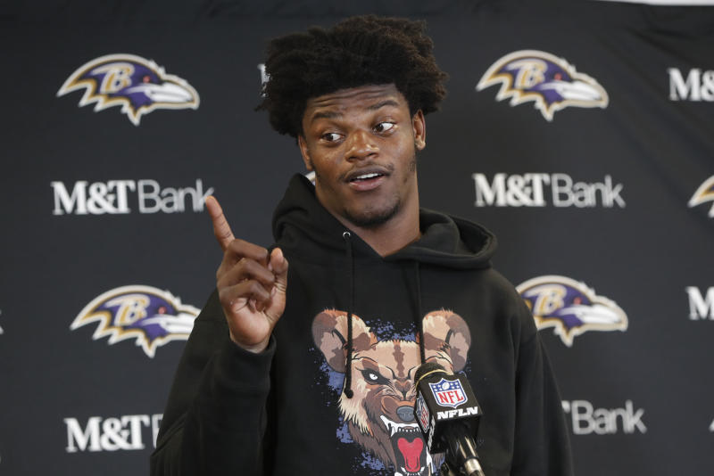 Baltimore Ravens quarterback Lamar Jackson meets with reporters after an overtime win over the Pittsburgh Steelers in an NFL football game in Pittsburgh, Sunday, Oct. 6, 2019. (AP Photo/Gene J. Puskar)