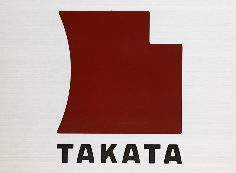 Logo of Takata Corp is seen outside the company's headquarters in Tokyo
