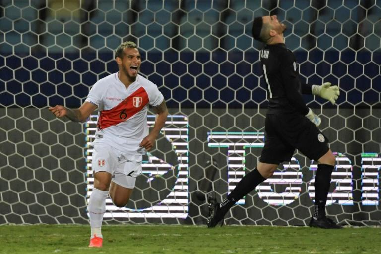 Peru's Miguel Trauco celebrates after scoring the decisive goal in Peru's penalty shoot-out victory over Paraguay in the Copa America quarter-finals