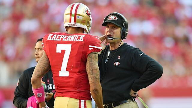 Harbaugh used to coach Colin Kaepernick, who started the national anthem protest trend during the 2016 NFL preseason.