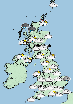 UK weather: Forecast at 1pm today - Credit: Met Office