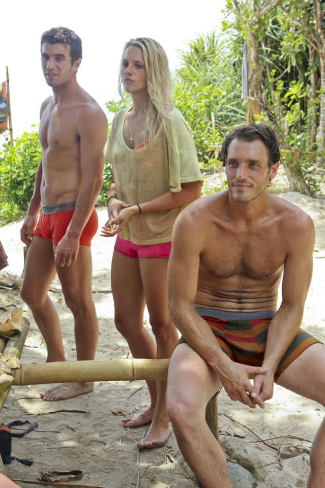 """Second Episode"" - Edward ""Eddie"" Fox, Alexandra ""Allie"" Pohevitz, and Reynold Toepfer of the Gota Tribe during the second episode of ""Survivor: Caramoan - Fans vs. Favorites."""