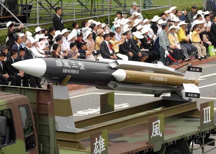 This picture from 2007 shows a model of the home-grown supersonic Hsiung-feng III (Brave Wind) ship-to-ship missile in Taipei (AFP Photo/SAM YEH)